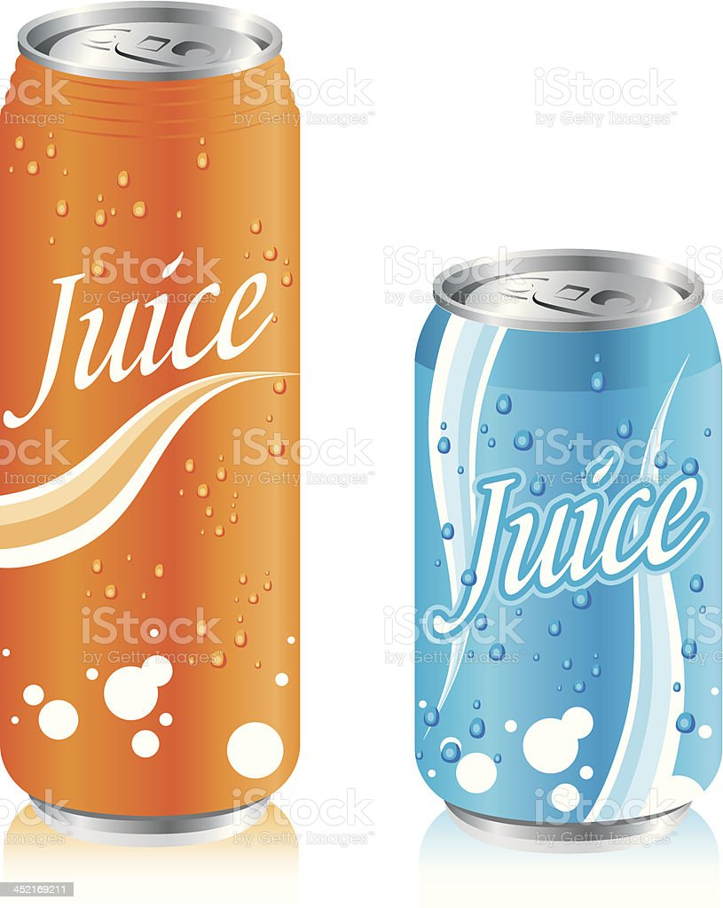 drinks juice cans Set Vector royalty-free stock vector art
