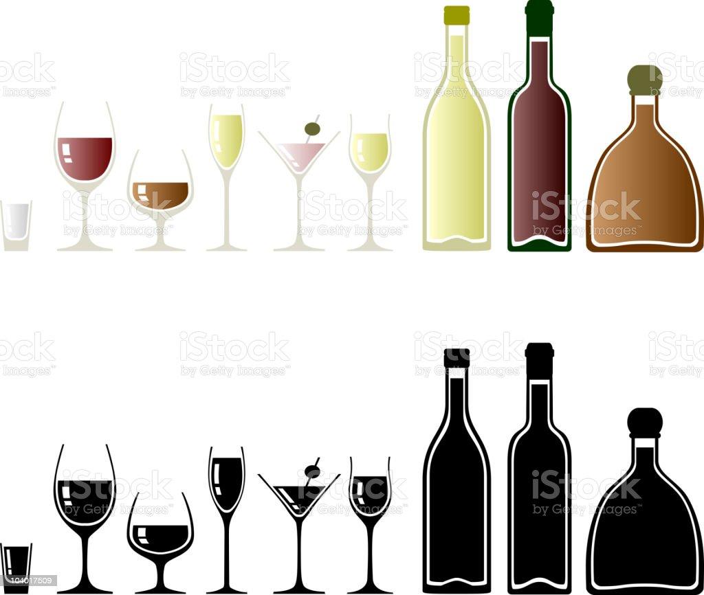 Drinks set vector art illustration