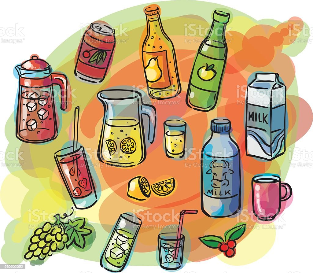 Drinks set watercolor sketches vector art illustration