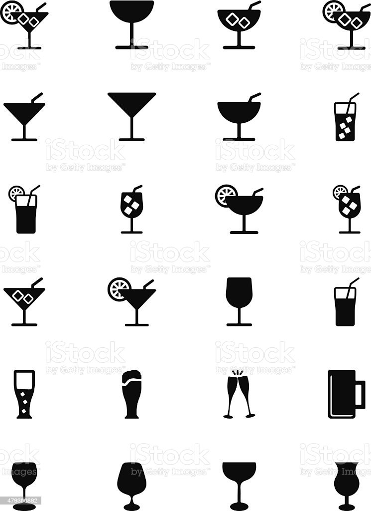 Drinks Solid Vector Icons 1 vector art illustration