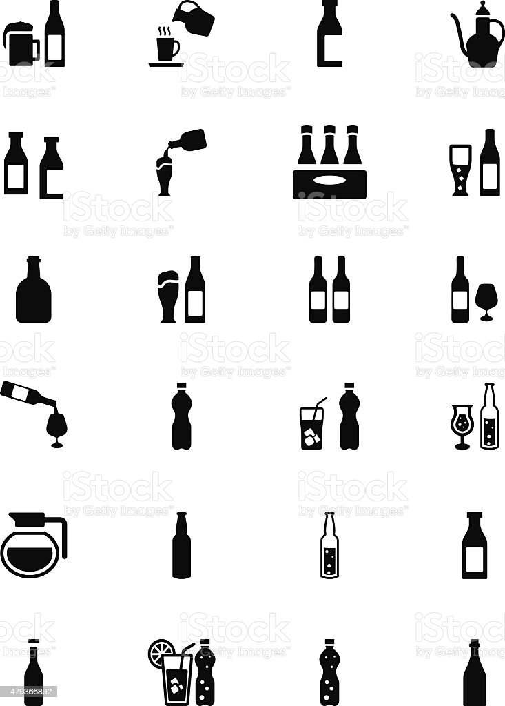 Drinks Solid Vector Icons 4 vector art illustration