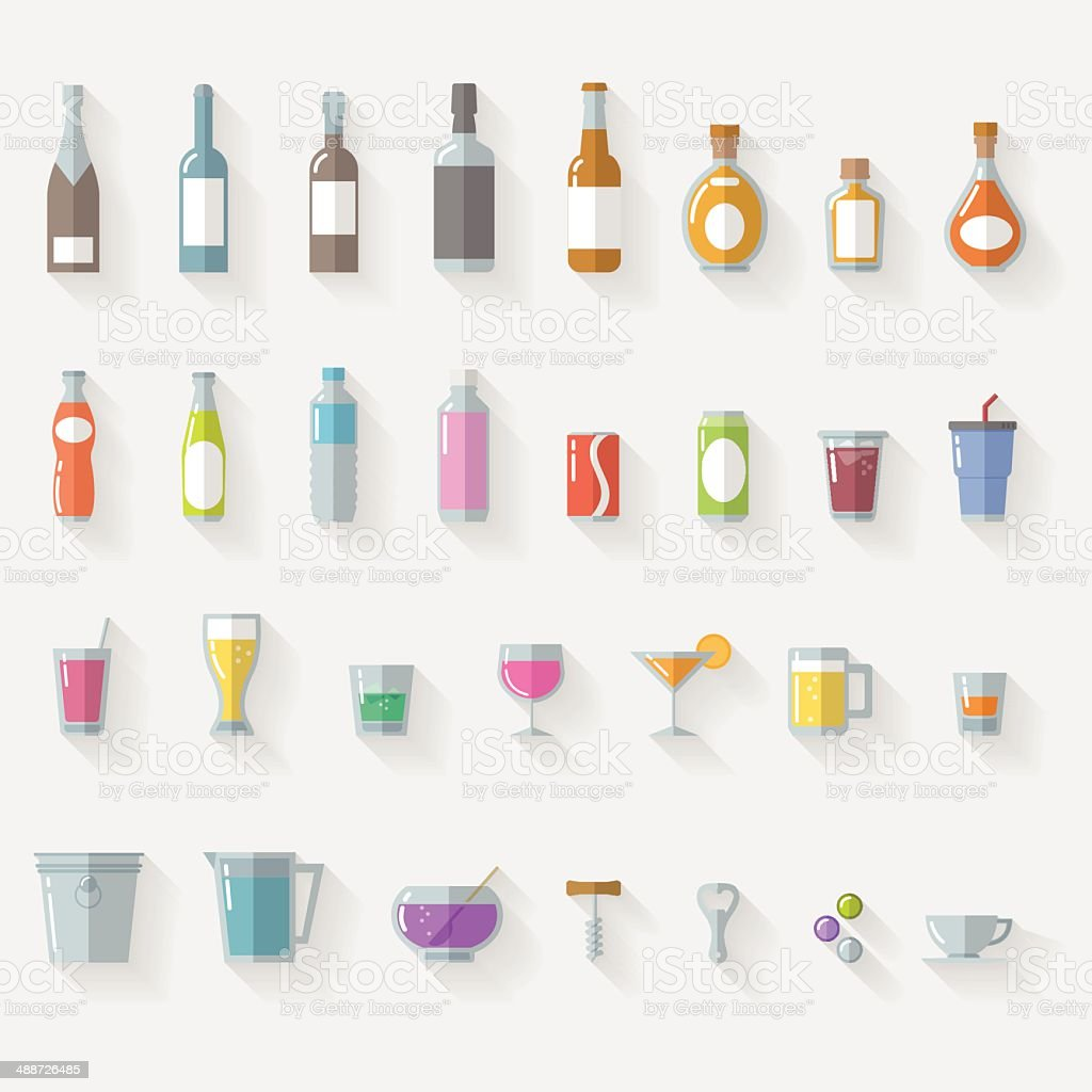 Drinks vector art illustration
