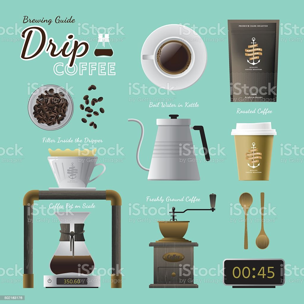 Drip coffee brewing guide set vector art illustration