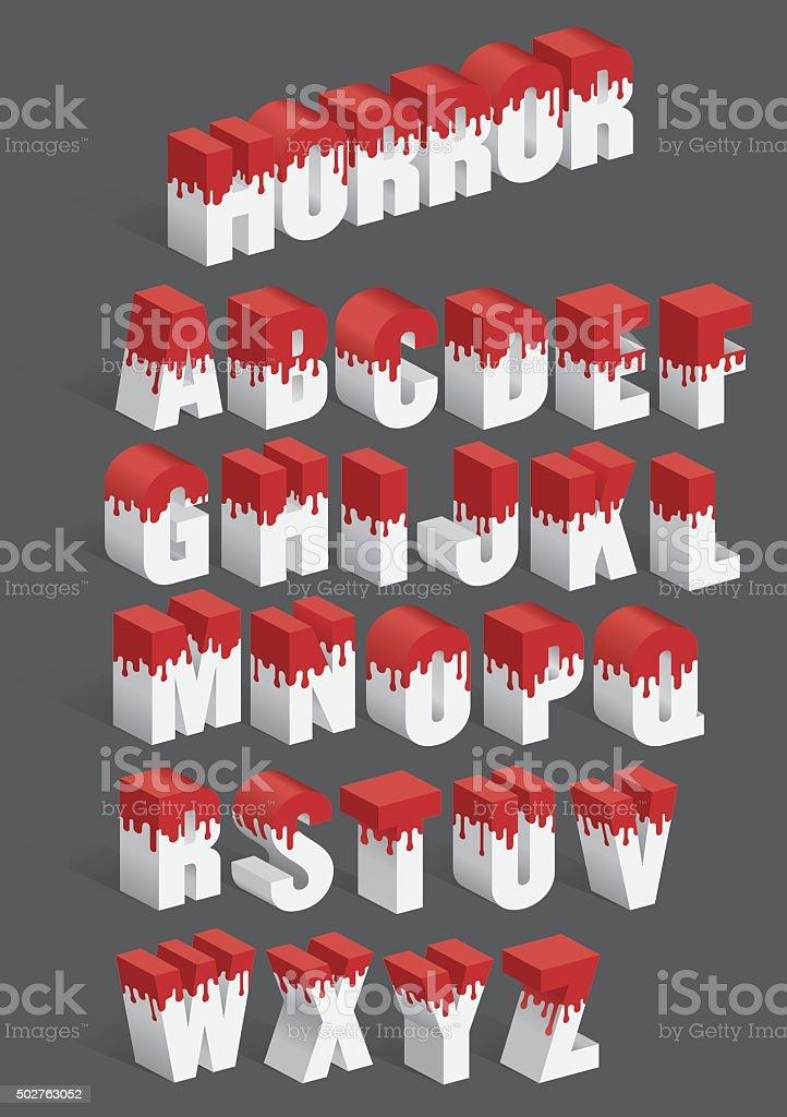 Dripping Blood Vector Alphabet vector art illustration