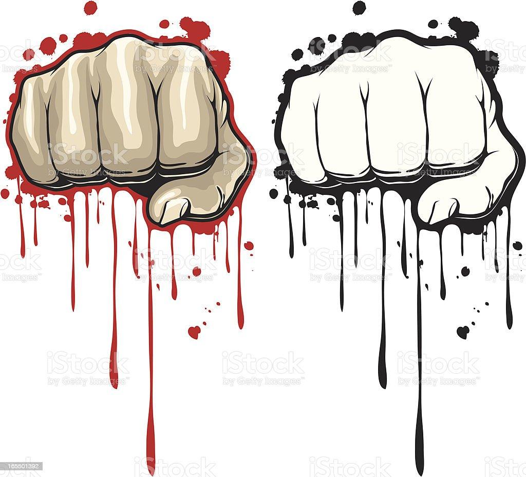 dripping fist vector art illustration