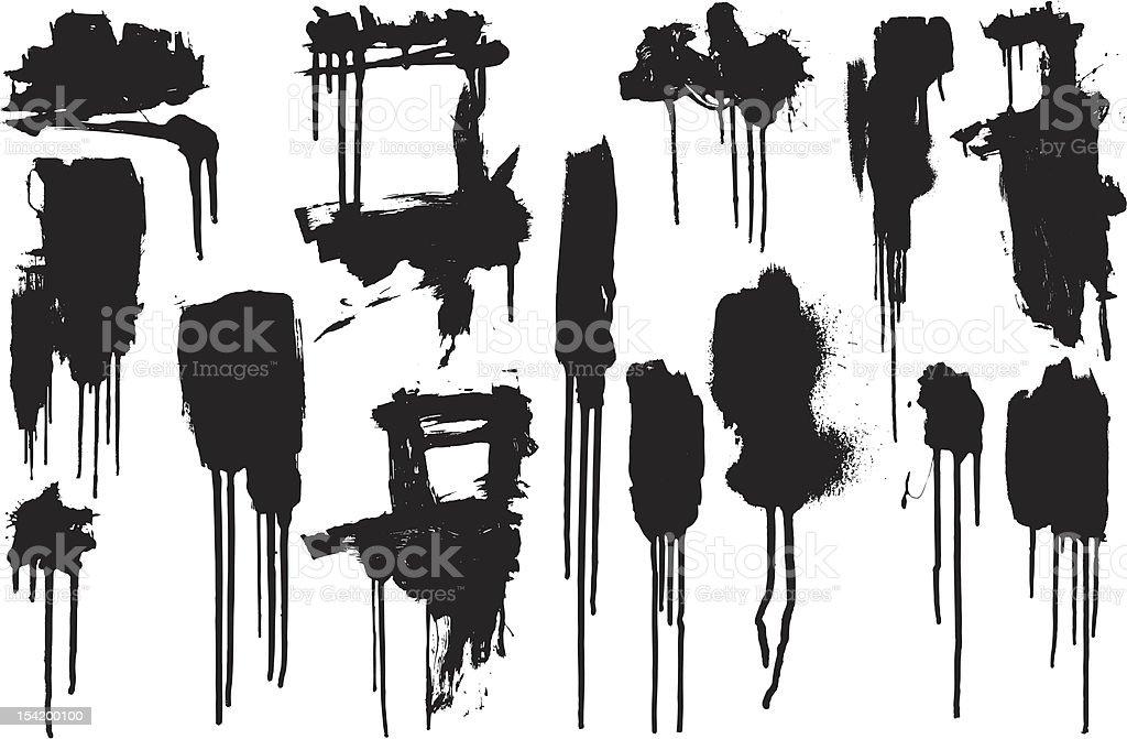 Dripping Paint Blots vector art illustration