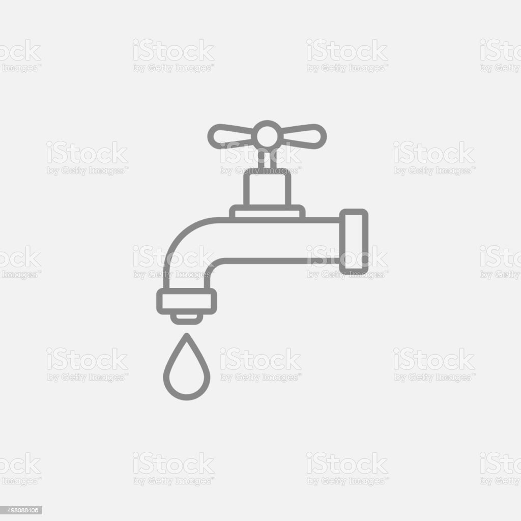 Dripping tap with drop line icon vector art illustration