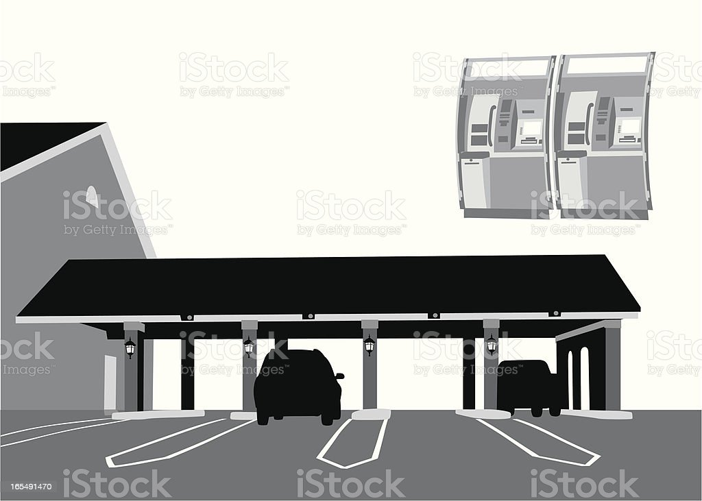 Drive thru Banking Vector Silhouette royalty-free stock vector art