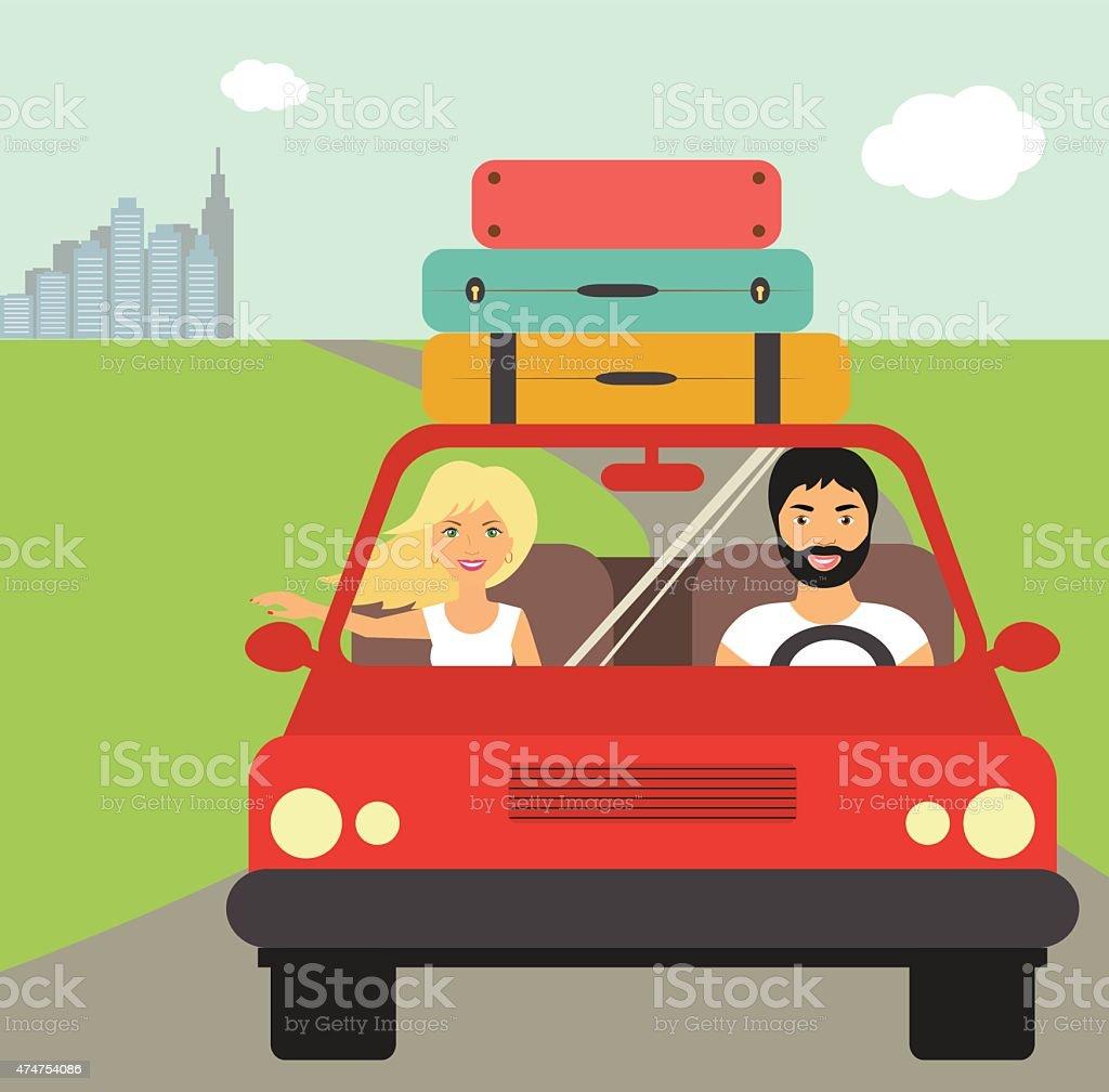 drive to summer holidays. Vector illustration vector art illustration
