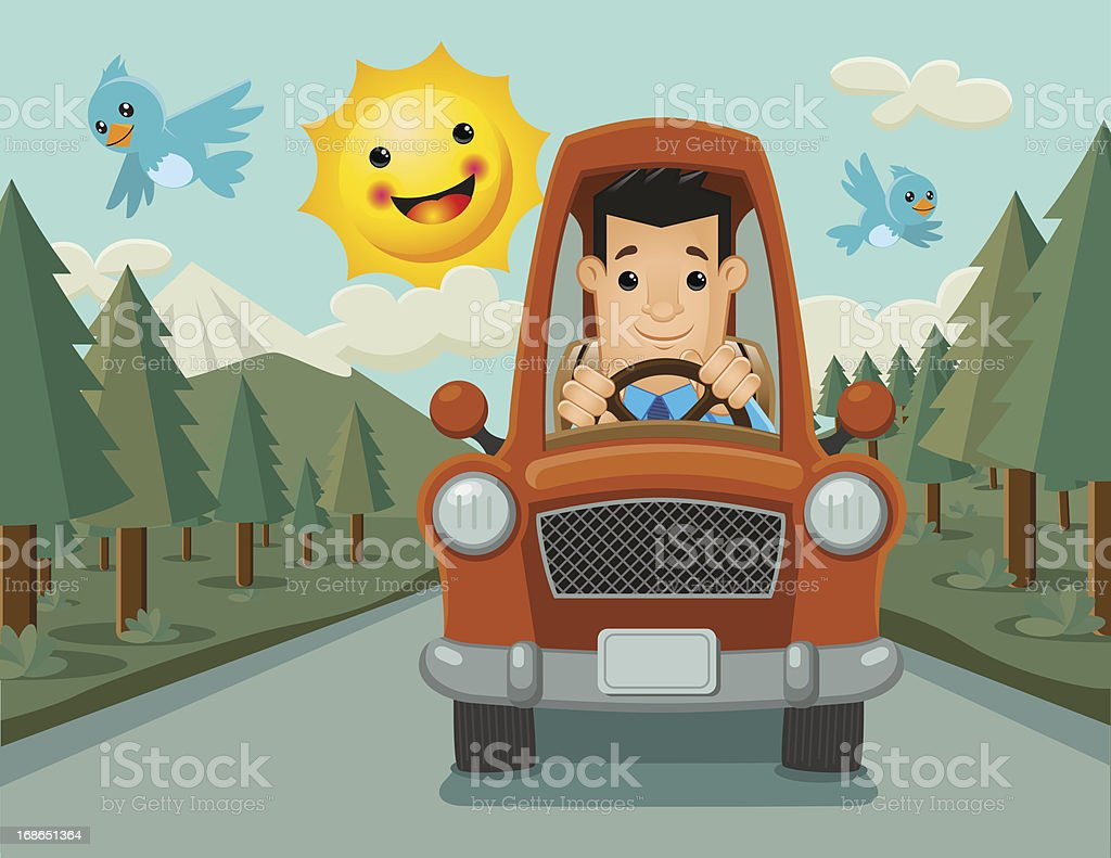 Driver Happy on the Way royalty-free stock vector art