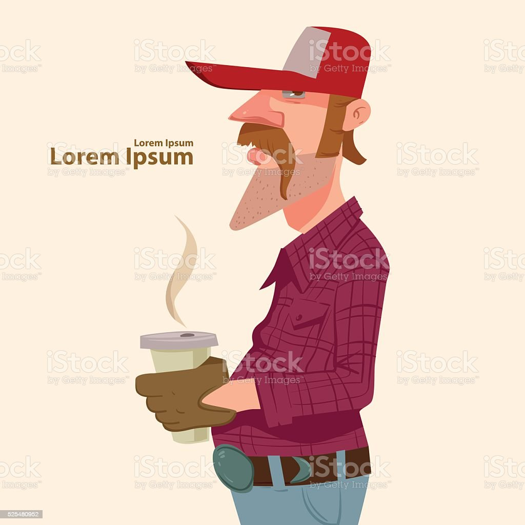 driver with coffee vector art illustration