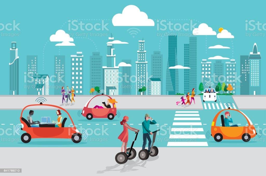 Driverless Autonomous Car in the City vector art illustration