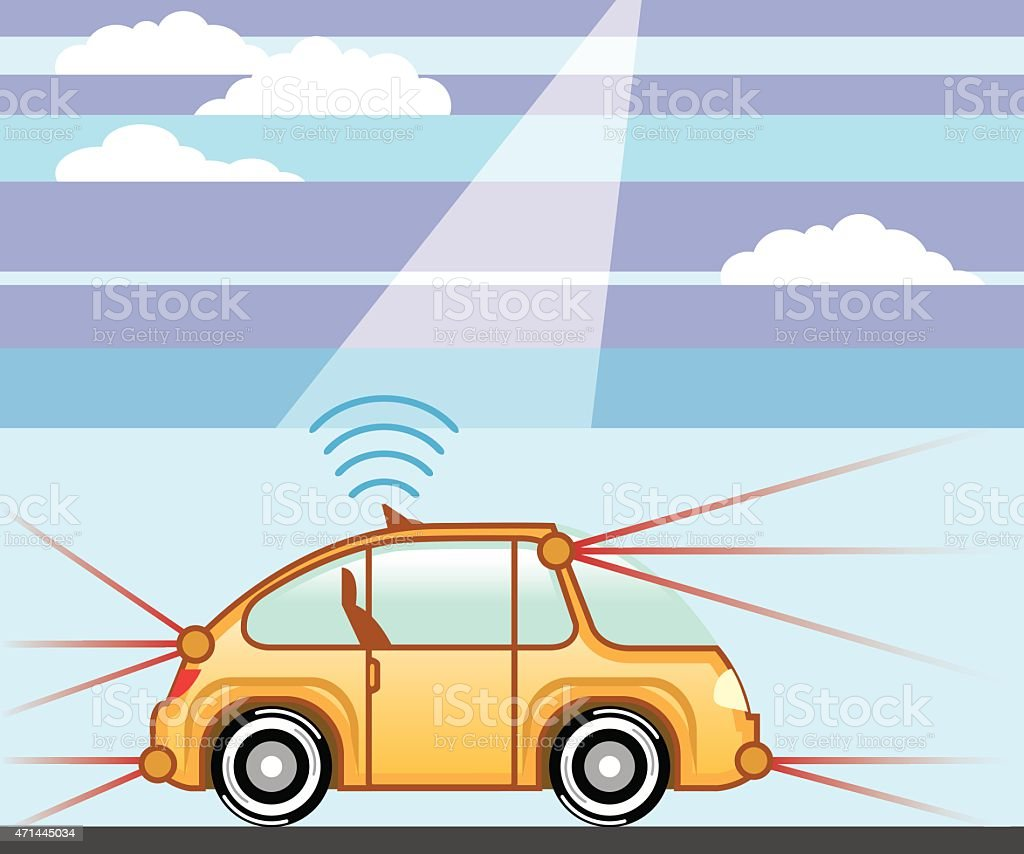 Driverless Car . Self-driving car vector art illustration