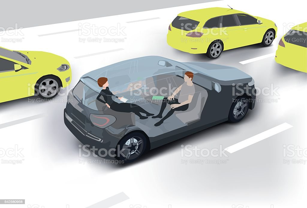 Driverless Car vector art illustration