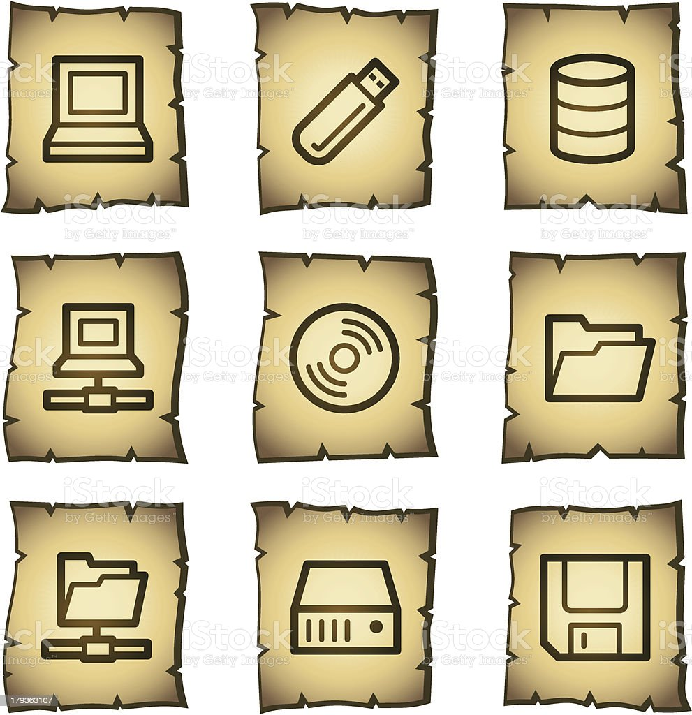 Drives and storage web icons, papyrus series royalty-free stock vector art