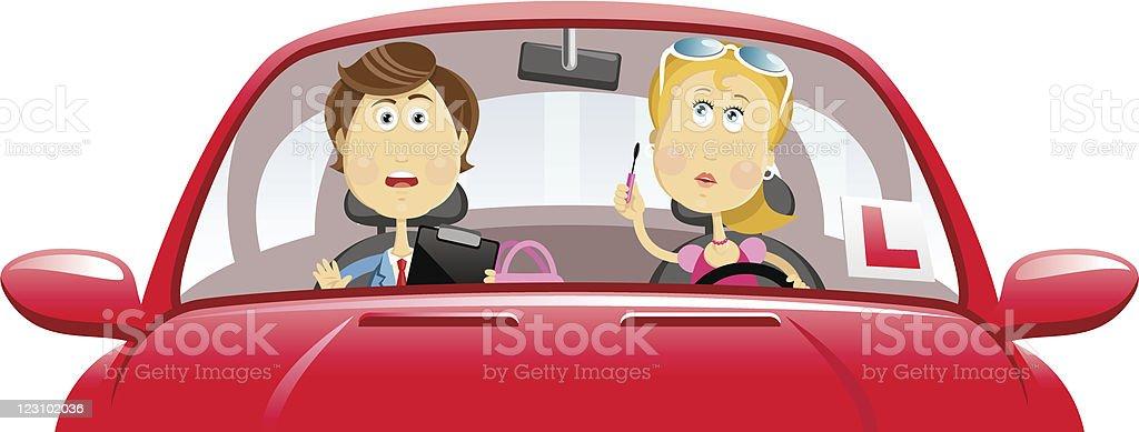 Driving blond vector art illustration