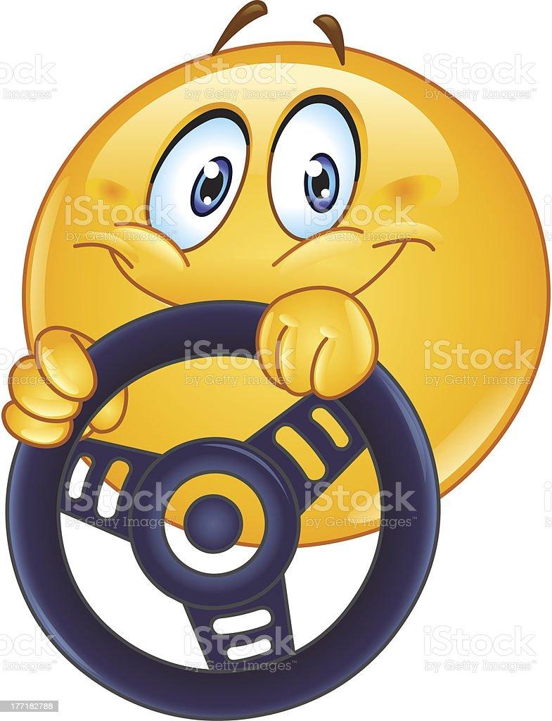 Driving emoticon vector art illustration