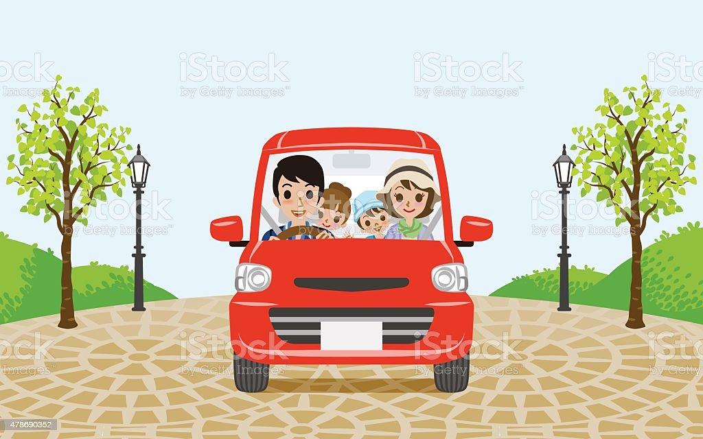 Driving Family car vector art illustration