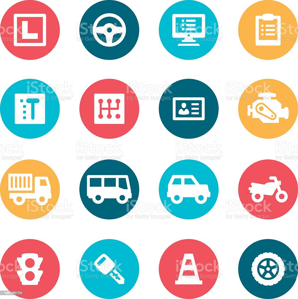 Driving Icons vector art illustration