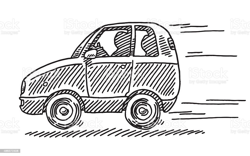 Driving Little Car Side View Drawing vector art illustration