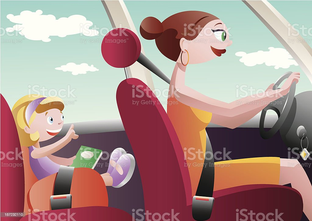 Driving mom royalty-free stock vector art