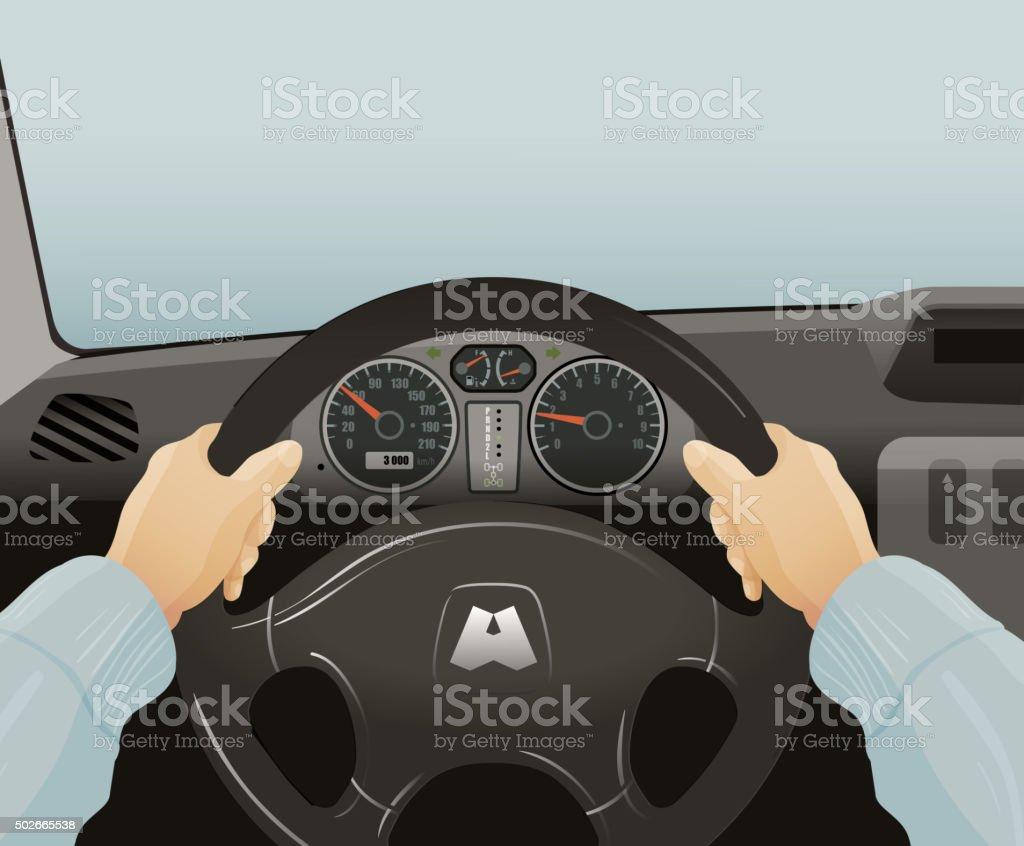 Driving of a car. Vector illustration vector art illustration
