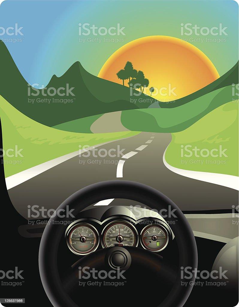 Driving on long road vector art illustration
