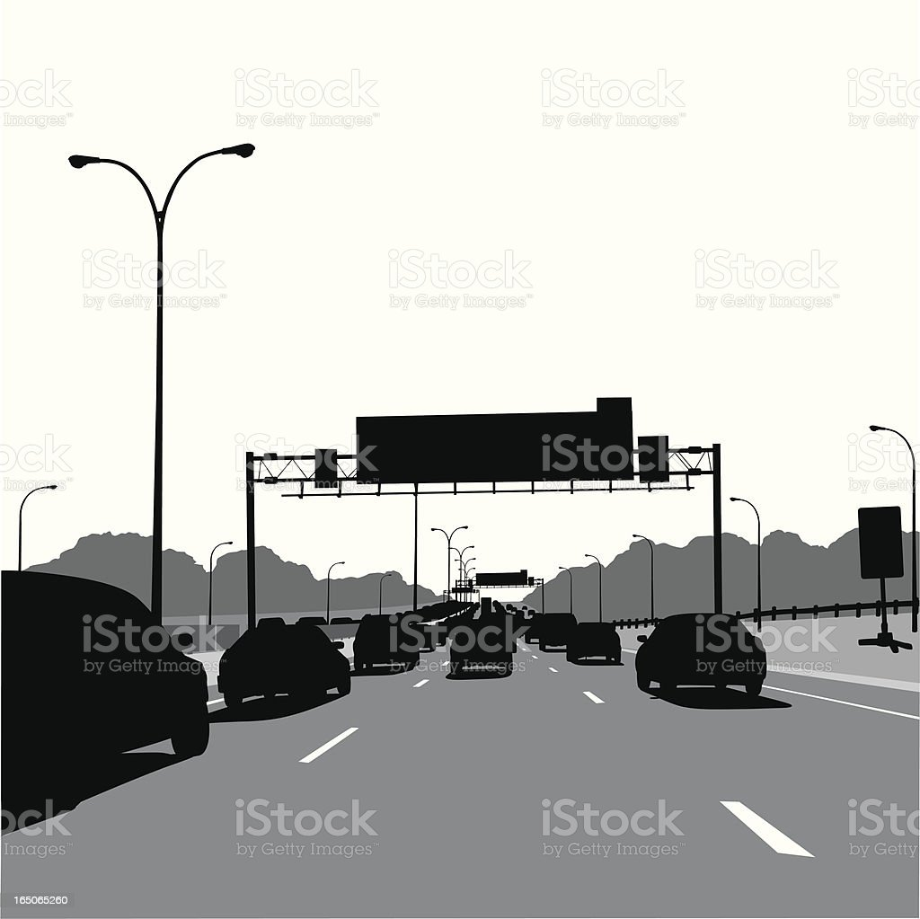 Driving Scape Vector Silhouette Vector royalty-free stock vector art