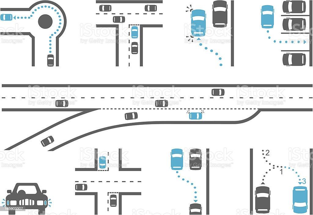 Driving School Diagram Icons vector art illustration