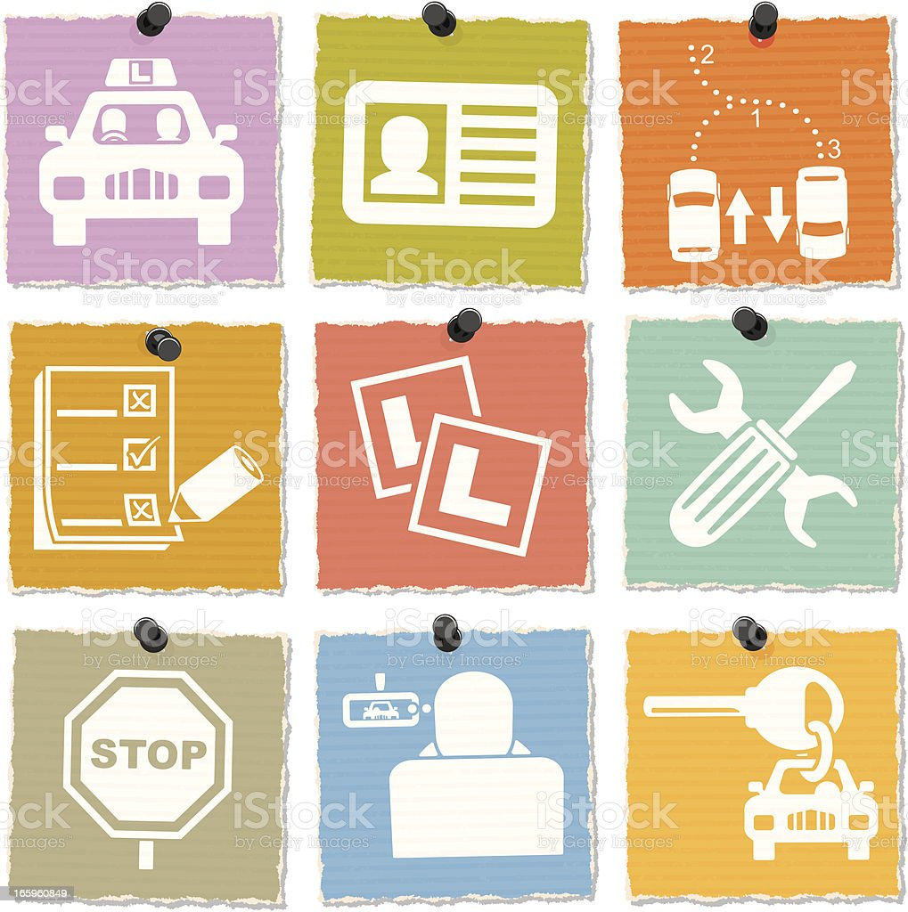 Driving School Icons royalty-free stock vector art
