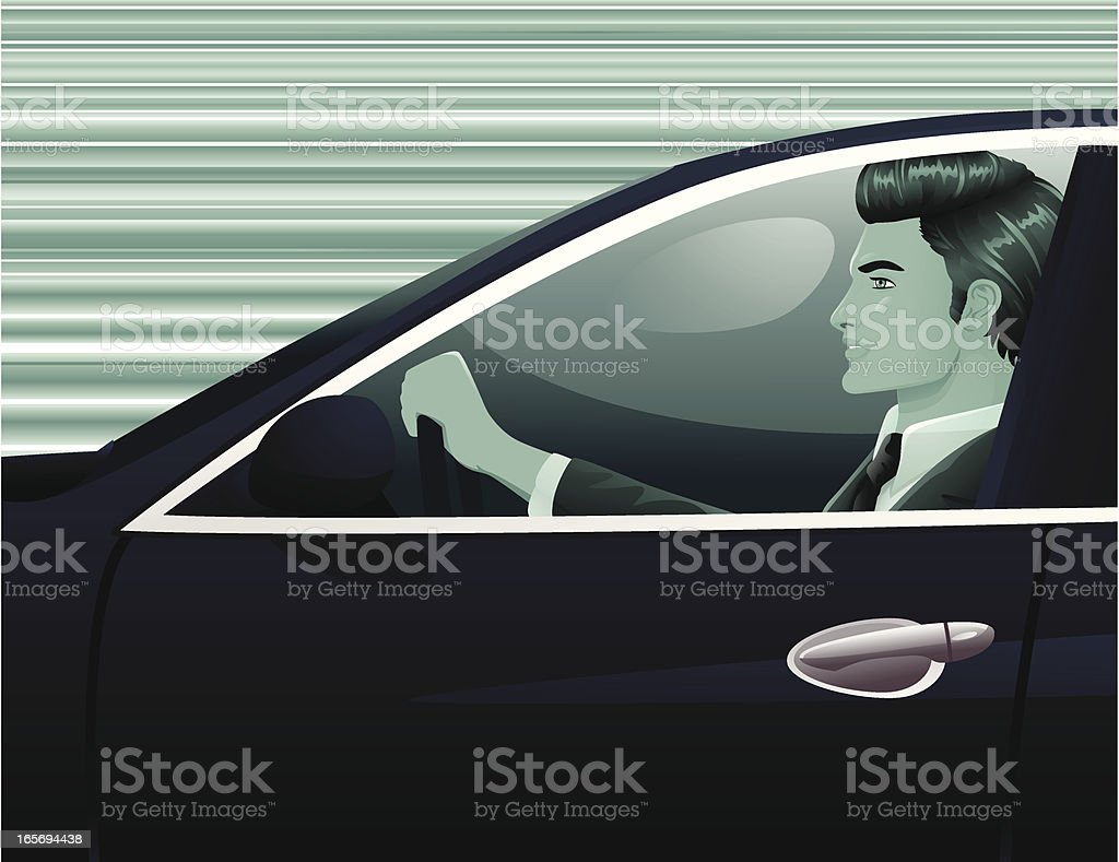 Driving the Car royalty-free stock vector art