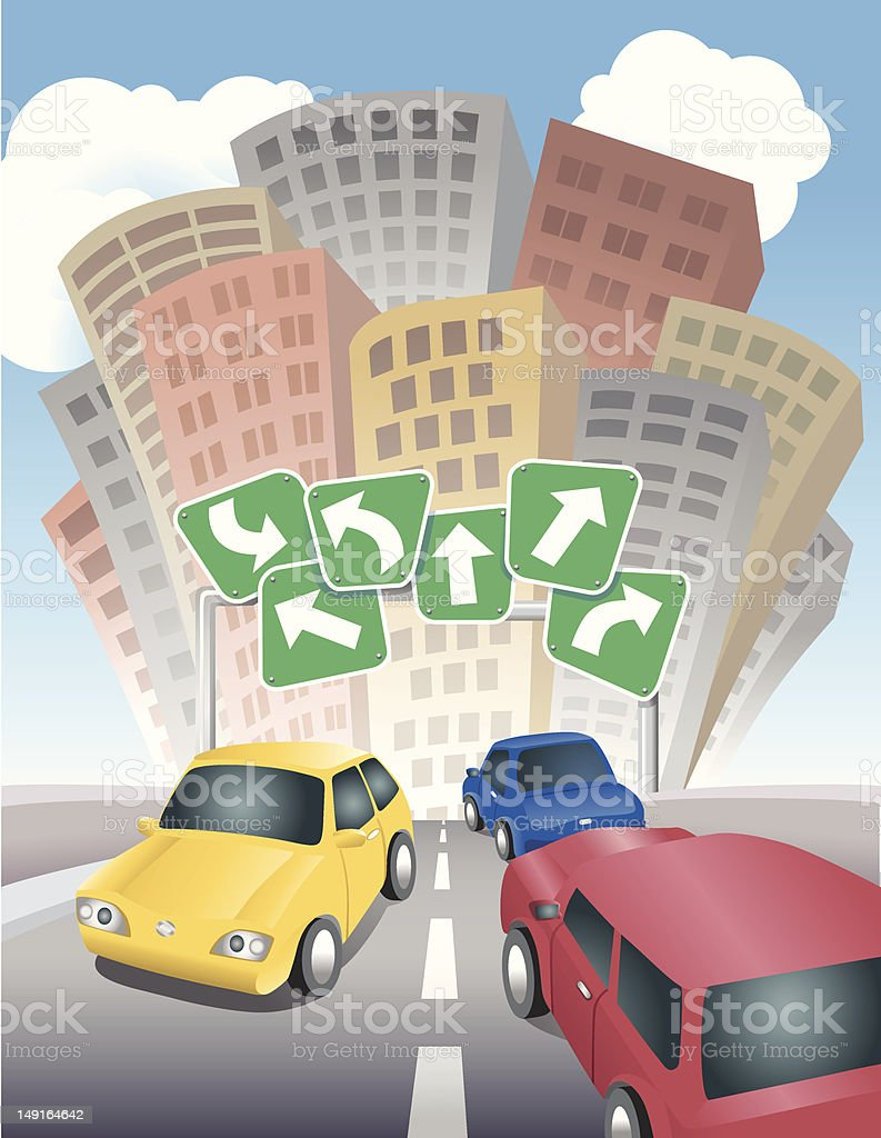 Driving to Town royalty-free stock vector art