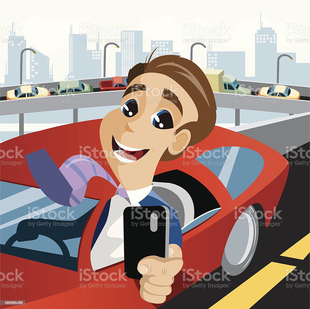 Driving While Texting vector art illustration