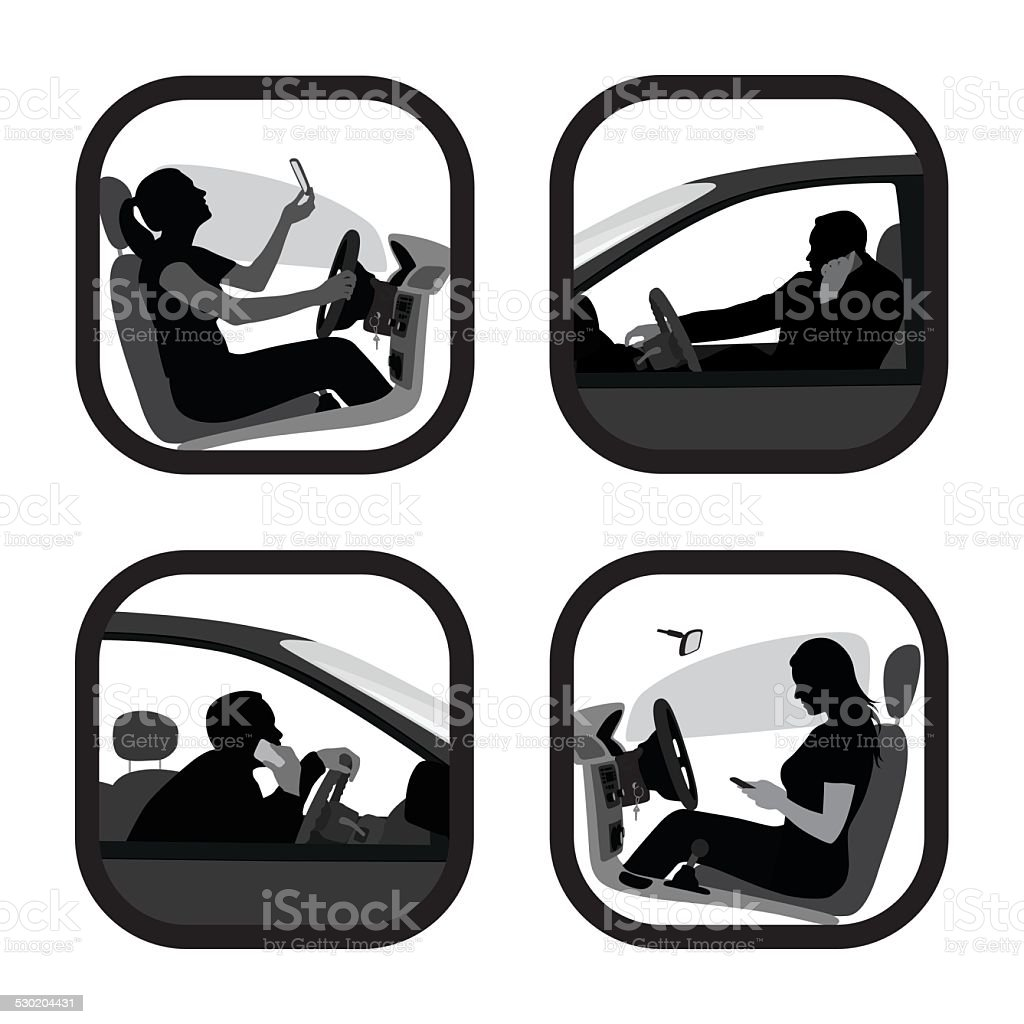 DrivingDangerously vector art illustration