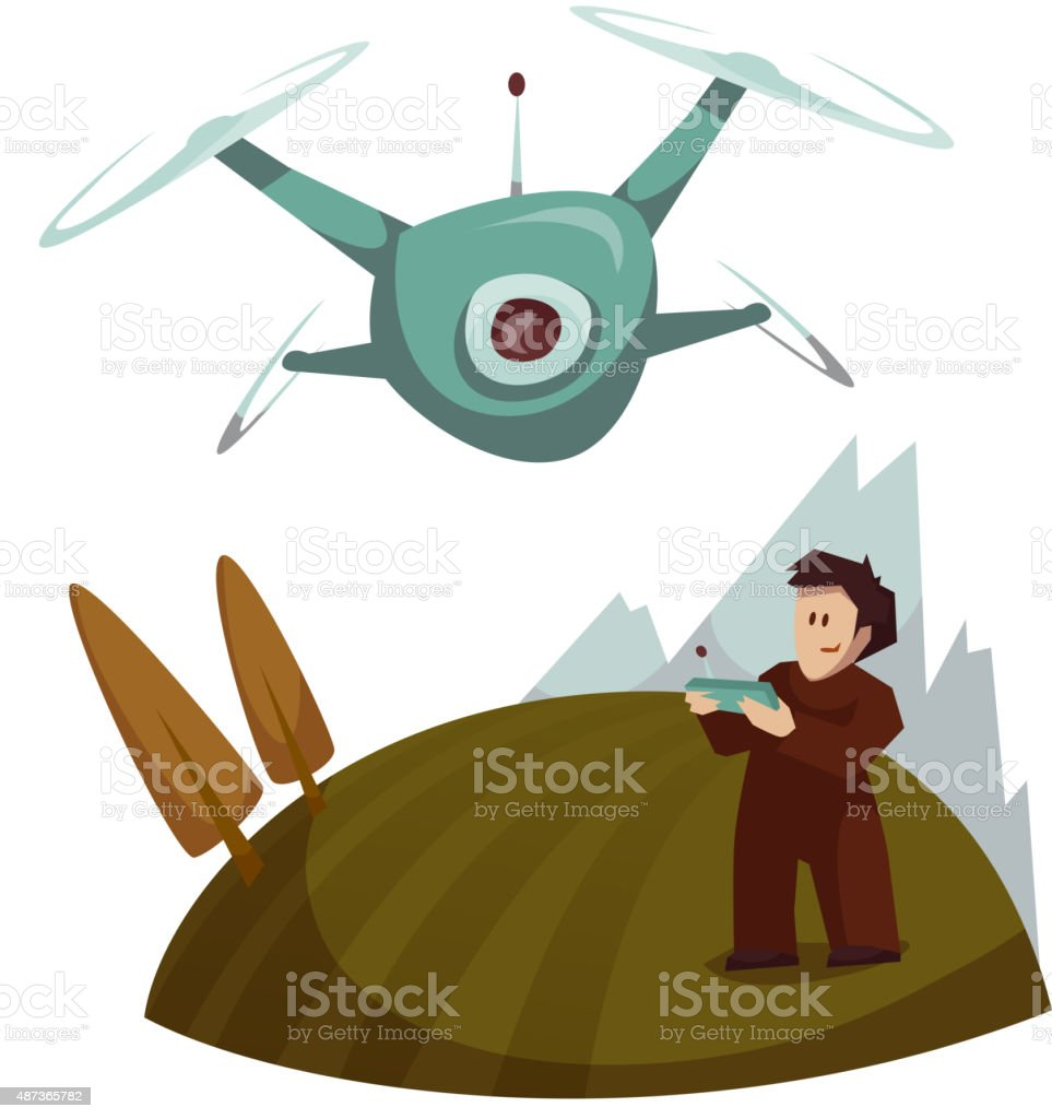 Dron with camera flying and man control it. Vector illustration vector art illustration