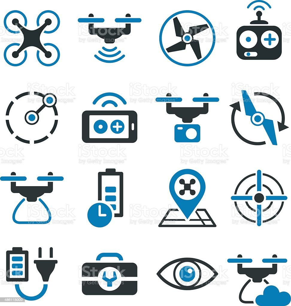 Drone and quad copter icons and symbols - illustration vector art illustration