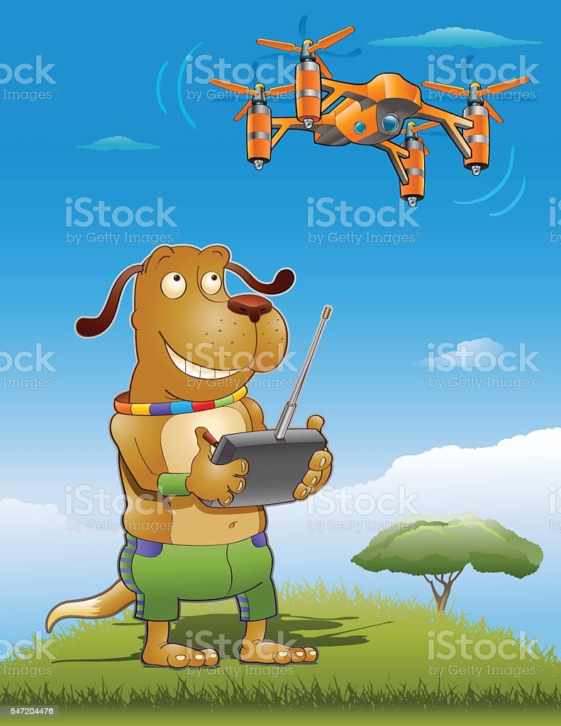 Drone Doggy vector art illustration