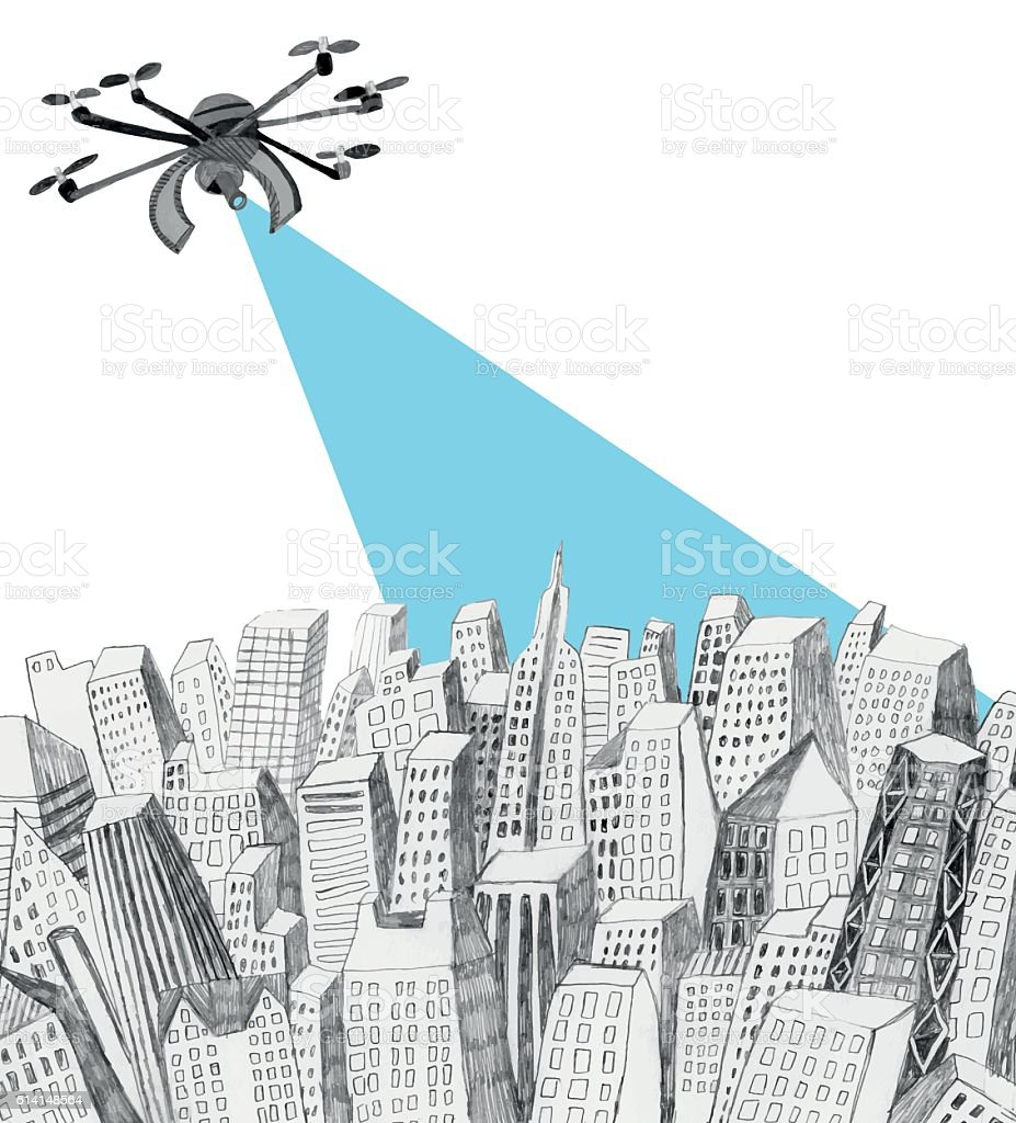 Drone hovering over the city drawing vector art illustration