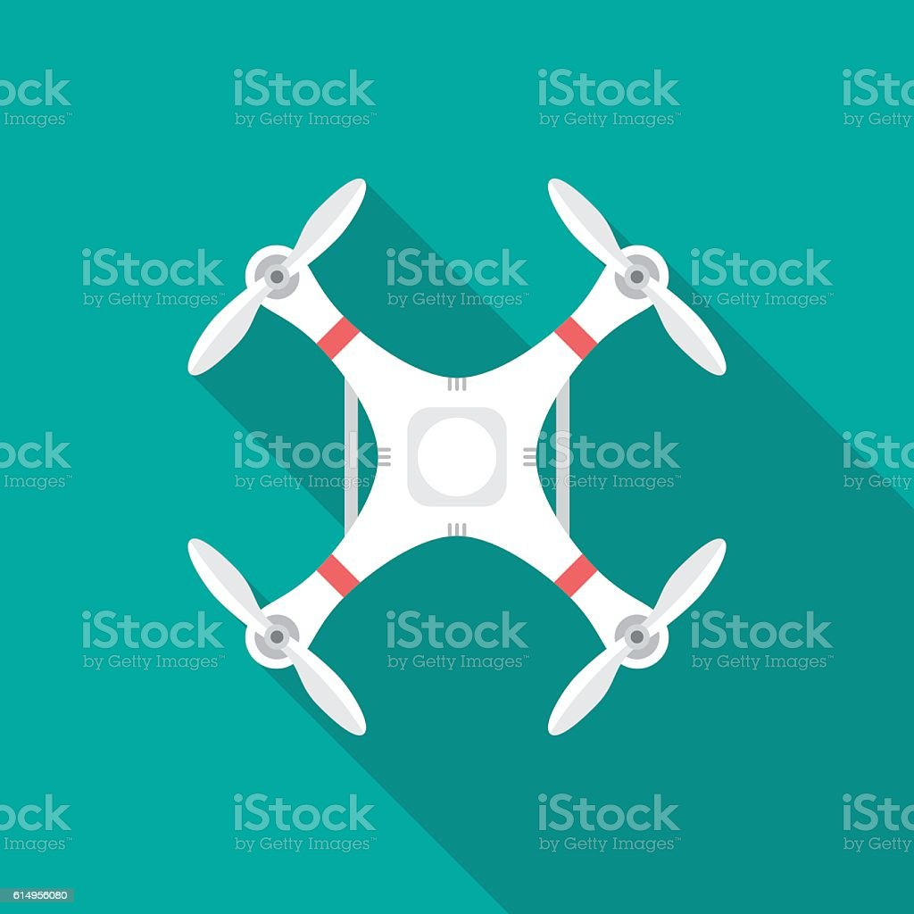 Drone icon with long shadow. vector art illustration