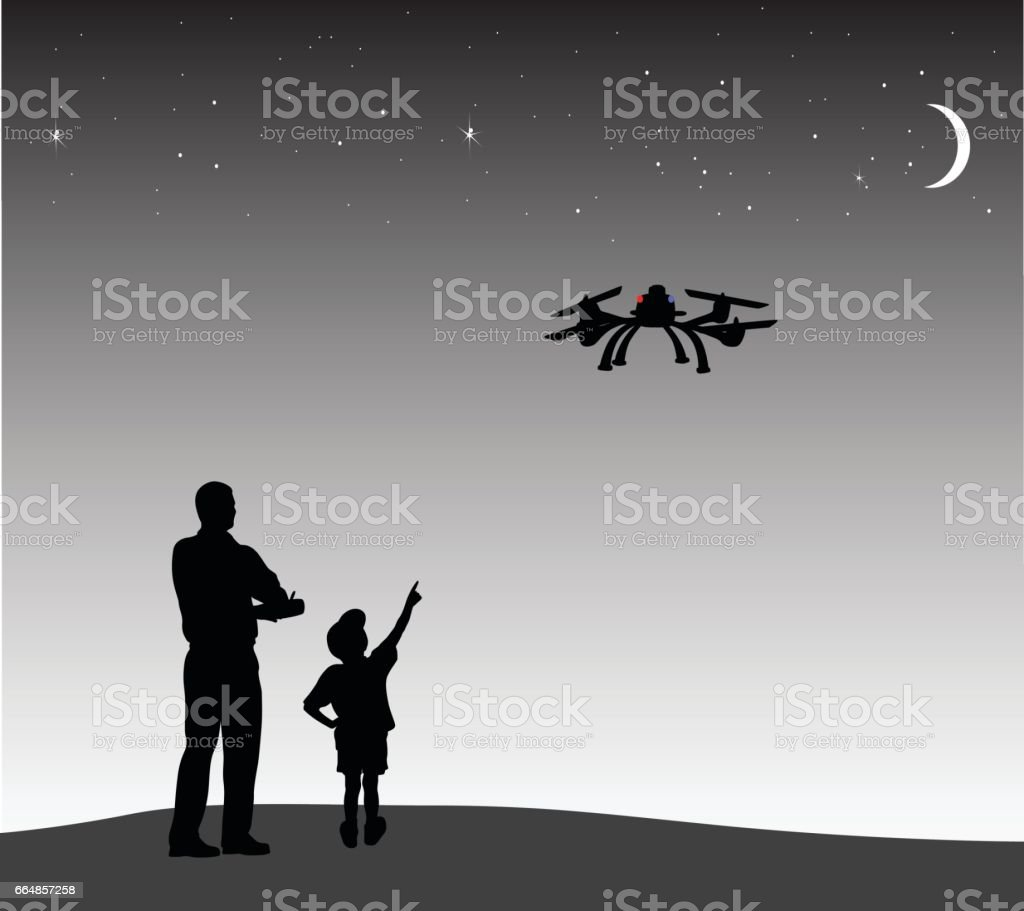 Drone Night Flight vector art illustration