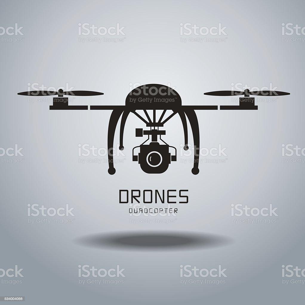 drone quadrocopter vector art illustration