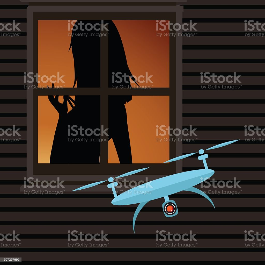 Drone spying on a woman through a window vector art illustration