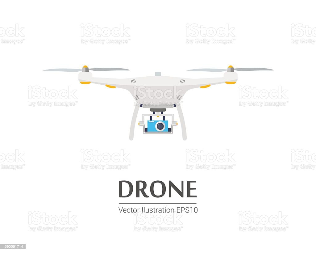 Drone with a camera taking photography or video recording. Vector vector art illustration