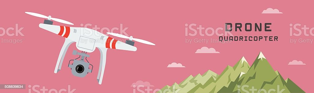 drone with a camera vector art illustration