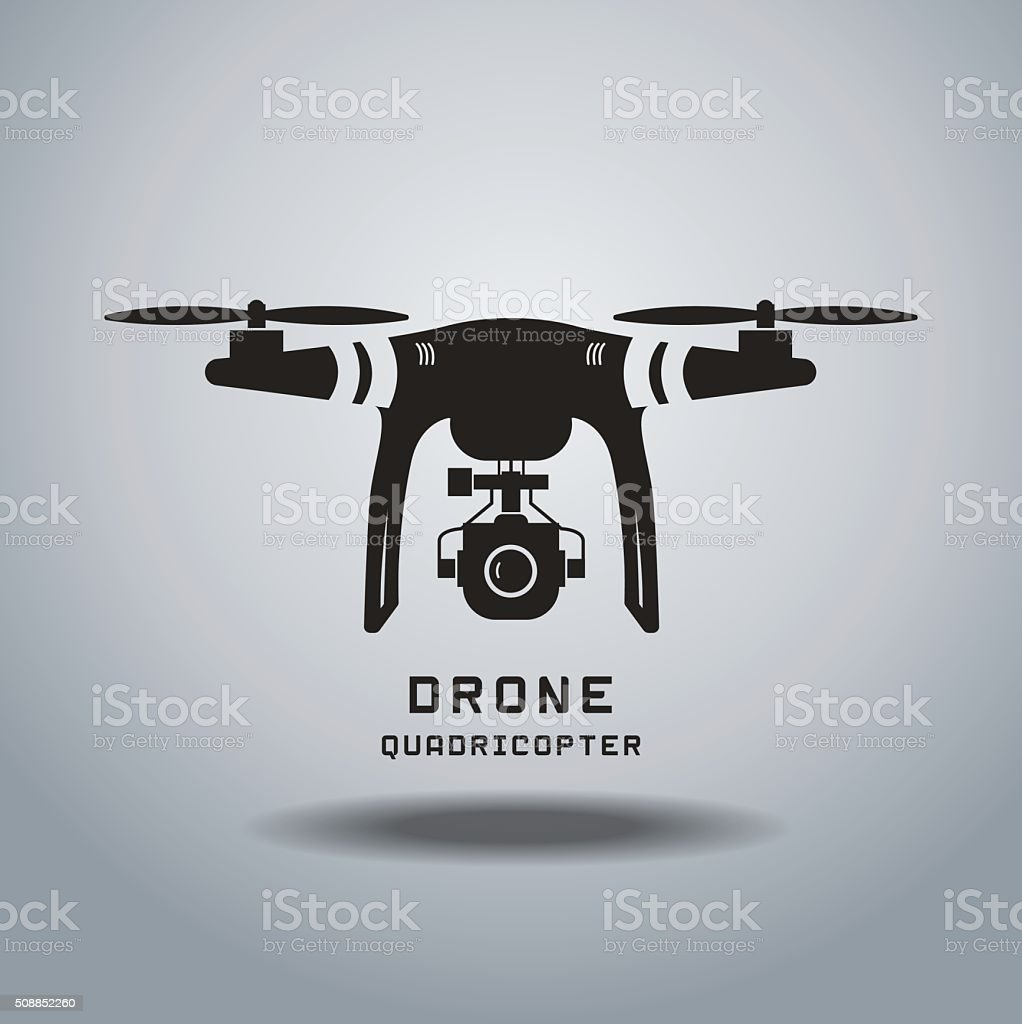 drone with action camera, logo vector vector art illustration
