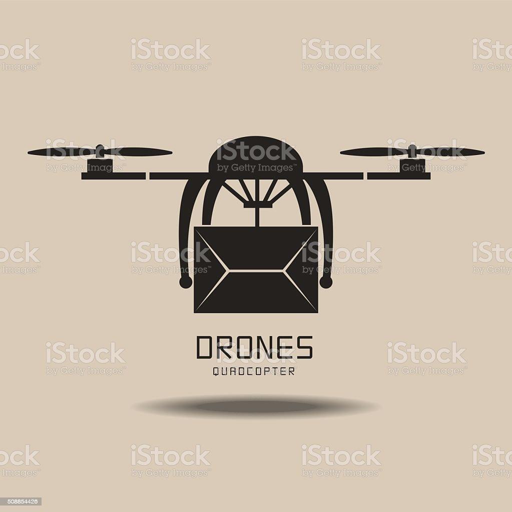 drones delivery ,logo vector vector art illustration