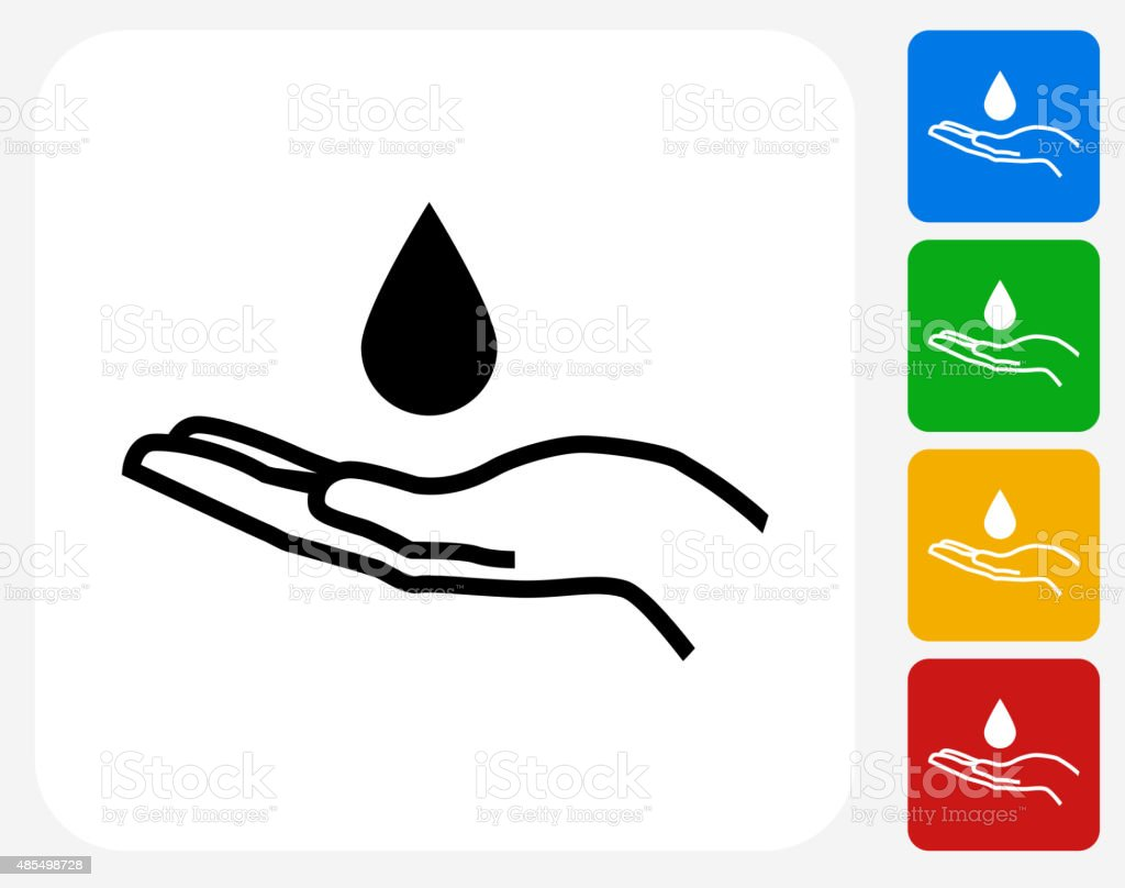 Drop and Hand Icon Flat Graphic Design vector art illustration