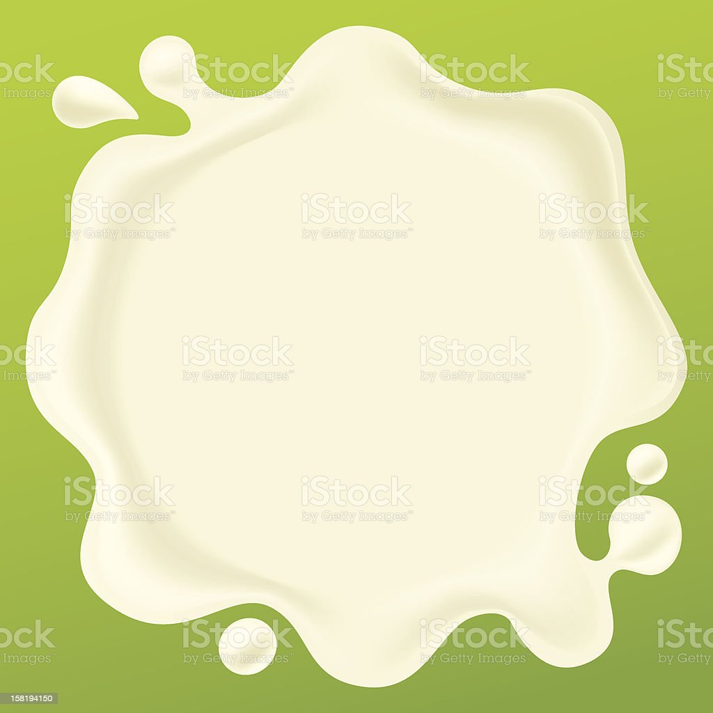 Drop of milk on a green background royalty-free stock vector art