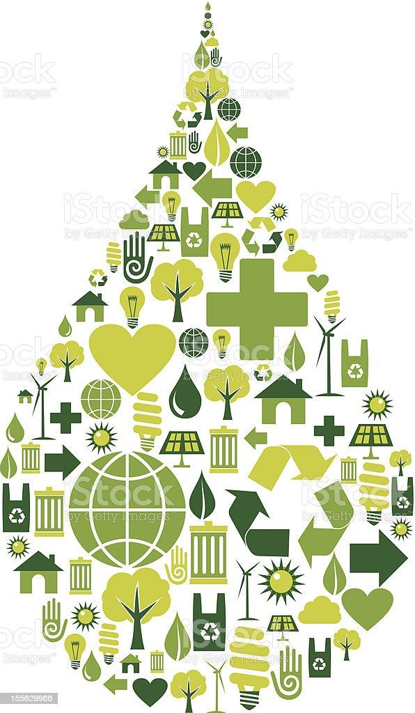 Drop symbol with environmental icons royalty-free stock vector art