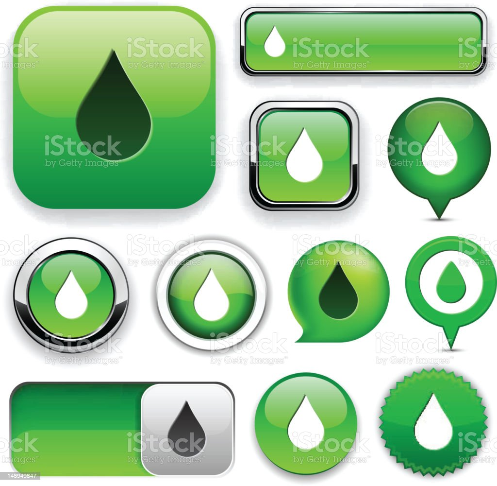 Droplet high-detailed web button collection. royalty-free stock vector art